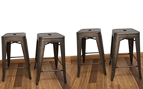 BTEXPERT 24-inch Industrial stacking Tabouret Metal Vintage Antique Copper Rustic Distressed Dining room Counter Bar Stool Modern (Set of 4 barstool) For Sale