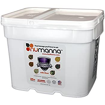 NuManna Defender Pack with Meat - 200 Meals, Emergency Survival Food Storage Kit Includes 74 Servings of Organic Grains and Super Foods, Separate Rations, In A Bucket, 25+ Year Shelf Life, GMO-Free