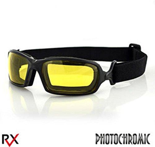 Bobster Fuel Biker Goggles, Black Frame/Anti-fog Yellow Photochromic Lens (Womens Bobster Sunglasses Motorcycle)