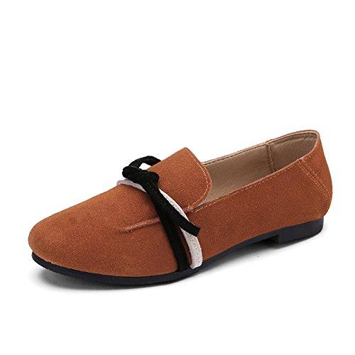 Mund Farbe UK7 Flache ZCJB EU41 Schuhe Casual Schuhe größe Leder Faule Frühling Einzelne Sommer Schuhe Damenschuhe 25cm Flacher L Schuhe Schwarz x66q1IUz