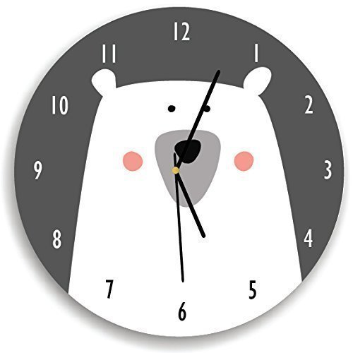 Kid'O Design Studio Polar Bear Wall Clock Decorative Kids room Clock,Battery Operated Wall Clocks, Gar and White,10.62 inches -