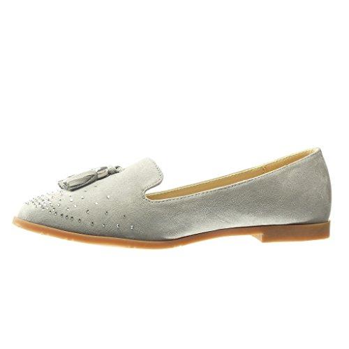 Angkorly - Zapatillas de Moda Mocasines slip-on mujer fleco pompom strass Talón Tacón ancho 1.5 CM - Gris