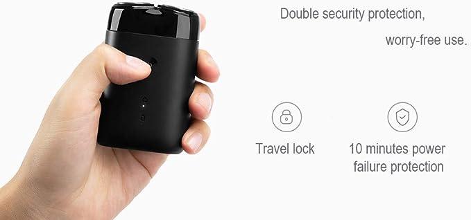Hombres máquina de Afeitar eléctrica 2 Cabeza Flotante Impermeable Portable del USB Navaja de Afeitar Recargable de Acero Formar Xiaomi: Amazon.es: Deportes y aire libre