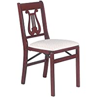 Music Back Folding Chair in Warm Cherry Finish - Set of 2