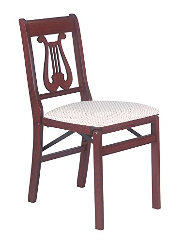 Music Back Folding Chair in Warm Cherry Finish – Set of 2