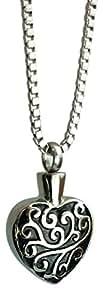 Colgante de corazón y del remolino de grabado con urna personaliseitonline - Memorial Ash silverjgift - joyería de la cremación