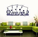 Wall Vinyl Sticker Decal Poker Casino All in Player Gambler Cards 1500