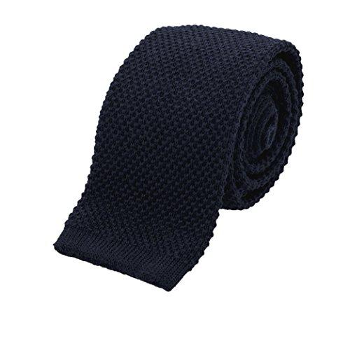 Benchmark Ties 100% Wool Knit Tie in Navy Blue (2.5