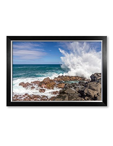 IPIC - Waves crashing at Queen's Bath, Kauai, Hawaii. Personalized Artwork with Names and Date on, Perfect love gift for Anniversary,Wedding,Birthday and Holidays. Framed size: 33x23x1.25'' by IPIC