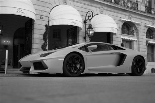 Lamborghini Aventador Left Front Black and White Hd Poster Super Car Print