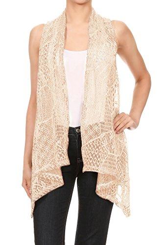 Anna-Kaci Womens Sleeveless Open Front Crochet Shawl Cardigan Bikini Cover Up, Beige, (Hippie Crochet)