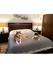 SILLY LEGACY Thin Reversible Waterproof Protective Cover or Liner for Bed or Couch, for Dogs and Cats (King 82 x 96, Gray)