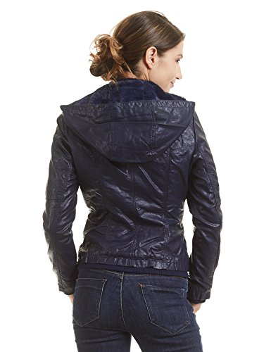 WJC1424 Womens Faux Leather Inner Fleece Hoodie Jacket S NAVY by Lock and Love (Image #4)