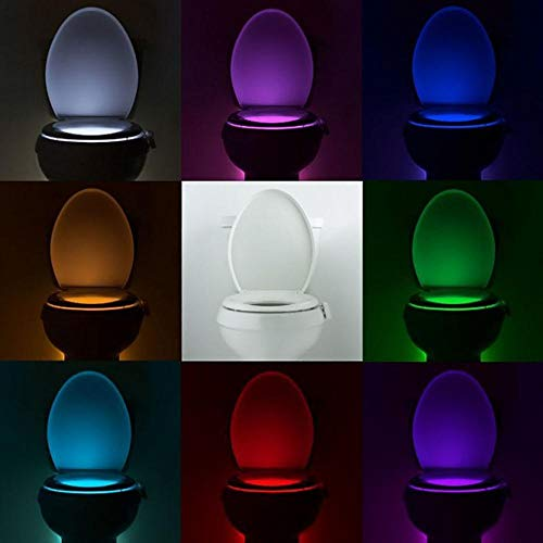 LED Night Light: Smart Toilet Night Light LED WC Closestool Body Motion Activated Seat PIR Sensor auto Lamp Activated Pedestal Toile