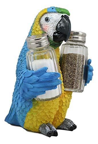 Ebros Tropical Rainforest Rio Blue Scarlet Macaw Parrot Bird Salt And Pepper Shakers Holder Figurine Set 6.75