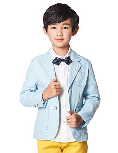 BYCR Boys' Formal Wedding Suit Pocket Blazer for Kids Size 5-18 No. 7160101082 (130 ( US Size 6-7 ), blue) (Blazer Boys)
