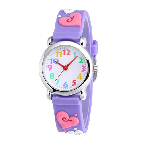Jewtme Cute Toddler Children Kids Watches Ages 3-8 Analog Time Teacher 3D Silicone Band Cartoon Watch for Little Girls Boys (Heart-Shaped ()
