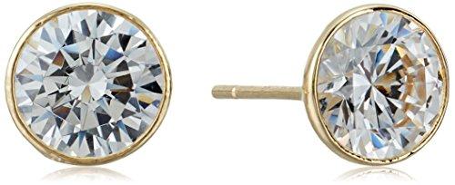 14k Gold Jewelry (Bezel-Set Cubic Zirconia 14k Yellow Gold Stud Earrings)