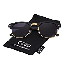 CGID Inspired Half Frame Horn Rimmed Polarized Sunglasses with Metal Rivets