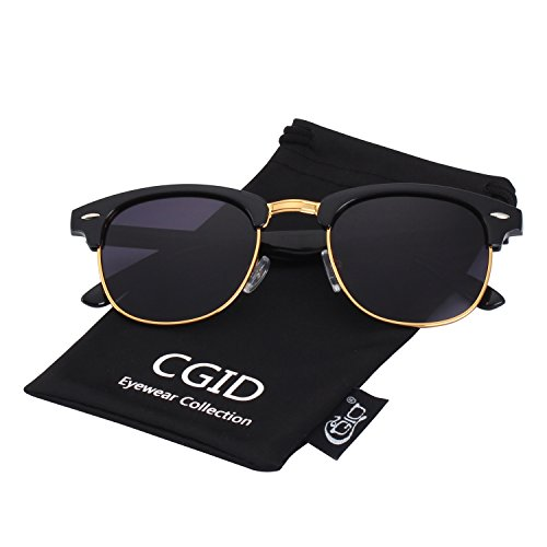 CGID Clubmaster Premium Classic Inspired Half Frame Horn Semi-Rimless Rimmed Sunglasses with Metal Rivets,Gold-Purple (Frame Rimless Metal)