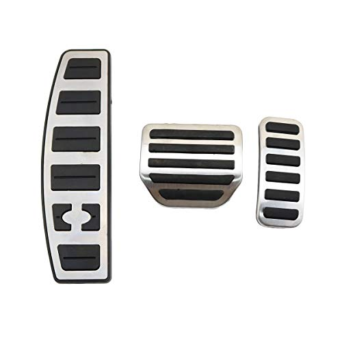 MYMOCCY Stainless Steel Foot Rest Pedal Brake Fuel Gas Pad Cover for Land Rover Discovery 3 4 LR3 LR4 Range Rover Sport No Drill