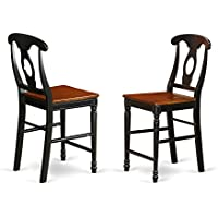 KES-BLK-W Kenley Counter Height Stools With Wood Seat In Black and Cherry -Set of 2