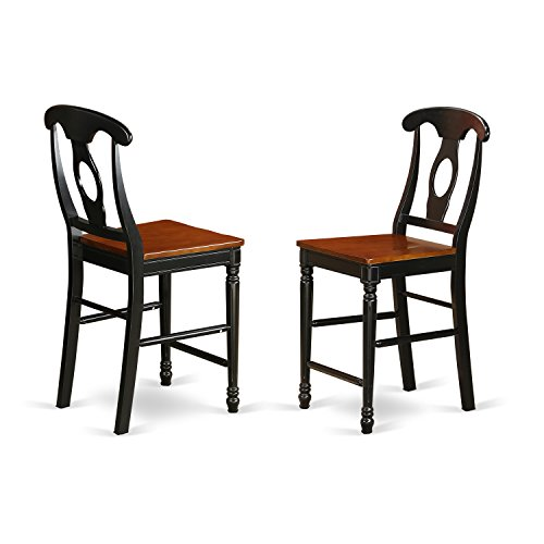 KES-BLK-W Kenley Counter Height Stools With Wood Seat In Black and Cherry -Set of 2 (42 Black Cherry Pub)