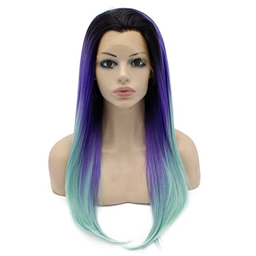 Violet Blue Natural - Mxangel Long Straight Celebrity Half Hand Tied Synthetic Lace Front Natural Violet Blue Ombre Hair Wig