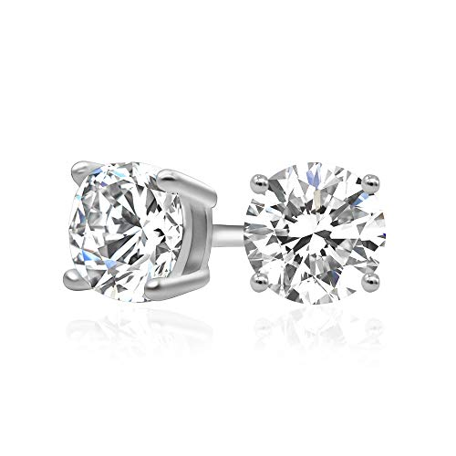 925 Sterling Silver Cubic Zirconia Classic Basket Prong Set Eternity Stud Earrings, - Gold Crystal 14k Champagne