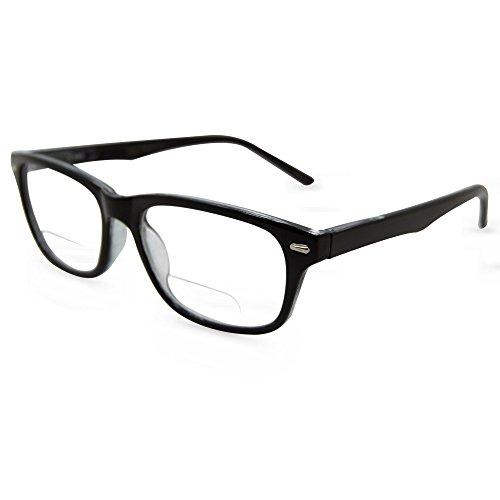 In Style Eyes Seymore Wayfarer BiFocal Reading Glasses for Both Men & Women Black 1.25