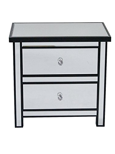 Heather Ann Creations Handcrafted Modern 2 Drawer Storage Nightstand Chest Beveled Mirrored Finish, 23″ x 16″ x 22″