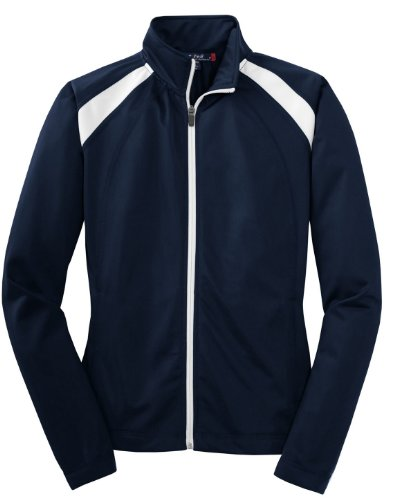Sport-Tek Women's Long-Sleeve Full Zip Polyester Athletic Running Tricot Track Jacket,X-Small,True Navy/White by Sport-Tek