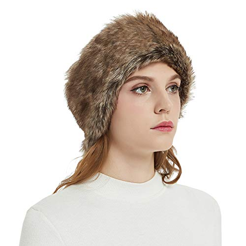Faux Fur Headbands Outdoor Ear Warmers Earmuffs Ski Hat Winter Warm Elastic Hairbands Head Wraps for Women by Aurya(Coffee)