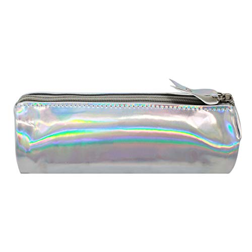 Queena Holographic PU Leather Pen Bag Fashion Cosmetic Bag Makeup Bag with Zipper ()