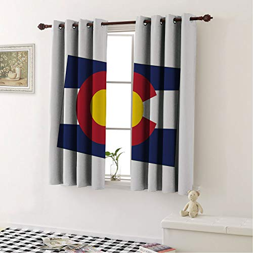 Mozenou Grommet Top Window Curtain Panels Colorado State Map Flag Centennial Colorful United States Night Blue White Vermilion Earth Yellow/Drapes/Panels for Dining Room 72 by 45 in