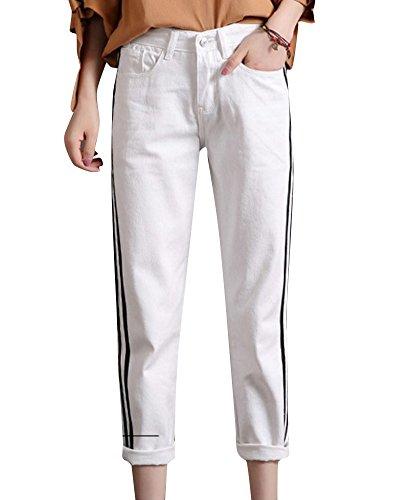 Mengmiao Mujer de los Deportes de la Longitud del Tobillo Vaqueros Baggy Alta de Cintura Pantalones Blanco