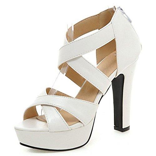 LongFengMa Women's High Block Heel Sandals Fashion Cross Straps Zipper Shoes White ua1K1h