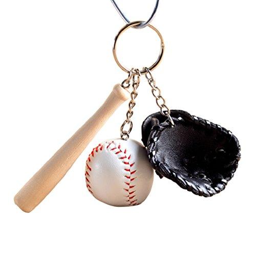 potato001 Modern Mini Baseball Bat Glove Set Faux Leather Keychain Keyring Handbag Pendant (Black) Modern Kids Wallet