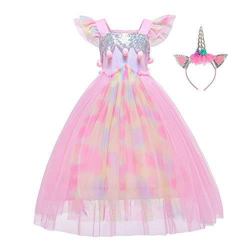 Flower Girls Unicorn Costume Pageant Princess Party Dress with Headband for Girls 8-10 Years(140CM,Unicorn Pink)