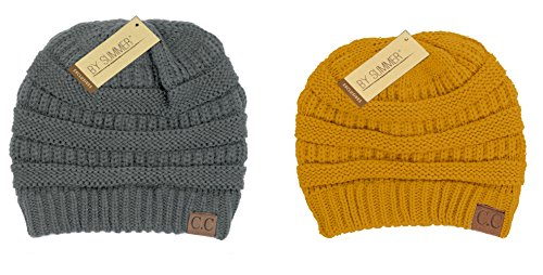 3dc05a76203 BYSUMMER C.C Warm Soft Cable Knit Skull Cap Slouchy Beanie Winter Hat (2pcs  set light