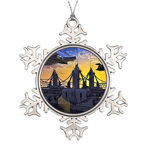 Cheyan Space Fiction Tree Decorating Ideas Christmas Snowflake Ornaments 3 inch
