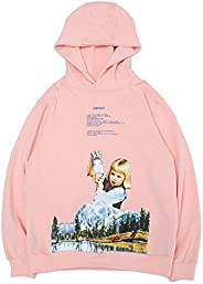 NAGRI Trendy Snow Mountain Girl Print Male and Female Couple Loose Hoodie Pink
