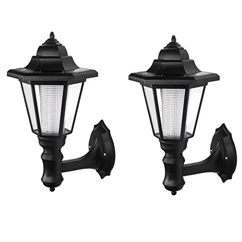 ALLOMN Outdoor Solar LED Lamp Wall Sconce,Waterproof Vintage Hexagonal Light Wall Mounted Security Garden Fence Yard Lamps,Plastic Material (Warm White) (2 Pack) (Wall Plastic Lighting)