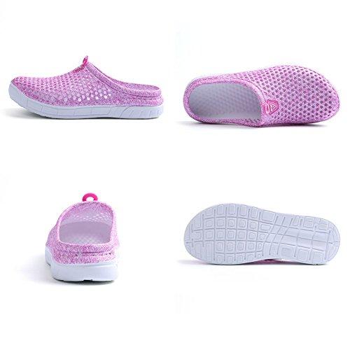 Slippers Drying Sandals Lightweight Walking Mesh Quick Shoes Coolloog Comfort Pink Unisex Garden Clogs xpwvgPA0q
