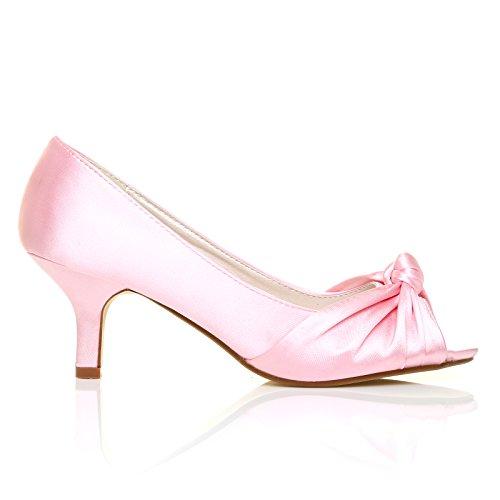 Kitten PARIS Pink Peeptoe Satin Bridal Baby Shoes Medium Heel rqtqnAzF