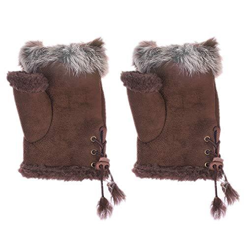 Fur Hand Mitts - Fingerless Winter Gloves For Women Teen Adjustable Suede Fur Mittens Wrist Mitts