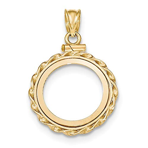 (14K Yellow Gold Twisted Wire Polished Screw Top 1/10 American Eagle Coin Bezel from Roy Rose Jewelry)