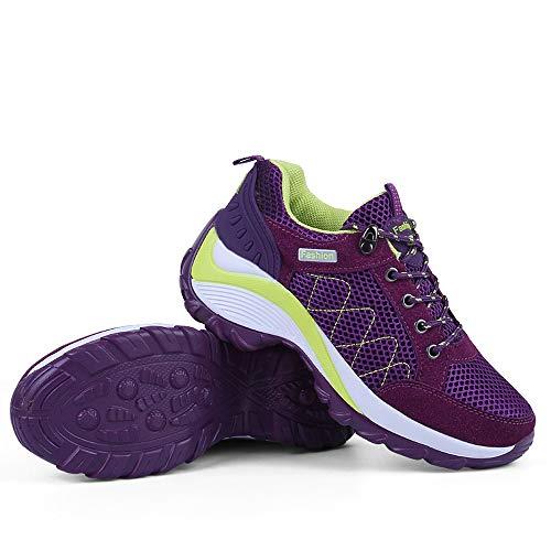 Lila Ineinander Schuh zufällige Schuhen Greifen Schuhe Laufenden Damen Die Schuhe mit Wellen der erhöhen Beleg leichten Turnschuhe Frauen LIANGXIE Nicht Breathable zpPqR1qf