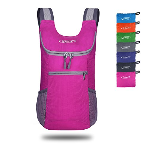 G4Free Lightweight Packable Shoulder Backpack Hiking Daypacks Small Casual Foldable Camping Outdoor Bag 11L(Pink)