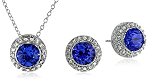 Sterling Silver and Blue and White Swarovski Crystal Round Stud Earrings and Pendant Necklace Jewelry Set by PAJ, Inc